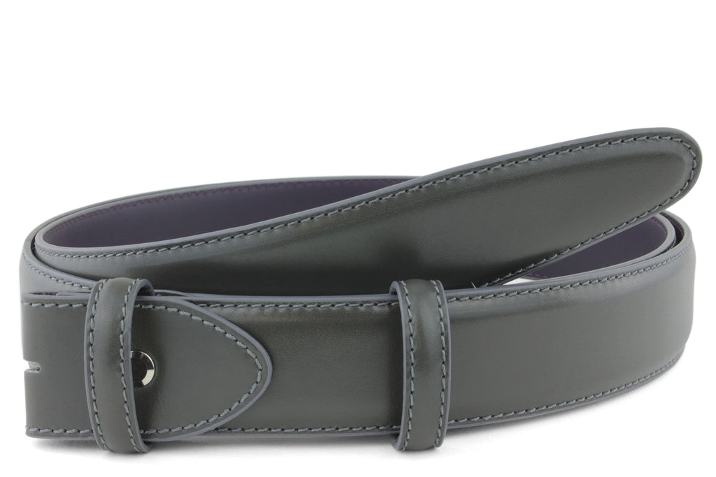 Anthracite Grey Box Calf Belt Strap