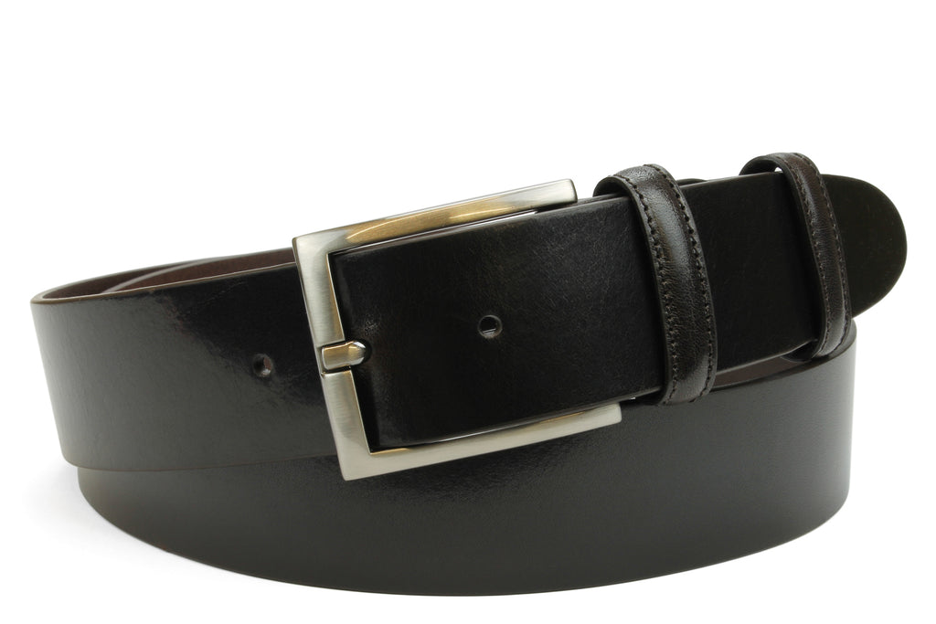 Smooth Deep Brown Slimline Satin Silver Prong Belt
