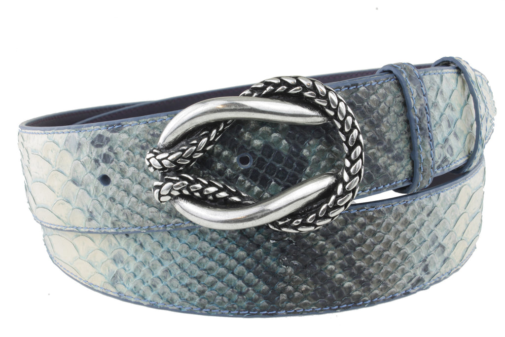 Denim Mock Python Reef Knot Belt