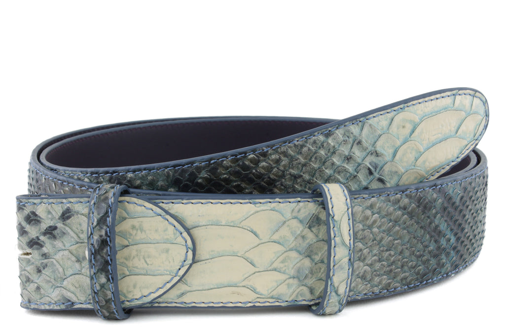 Denim Mock Python Belt Strap