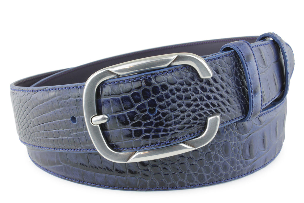 Midnight Blue Mock Caiman Belt