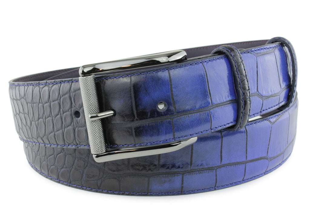 Twilight Blue Two Tone Mock Croc Belt