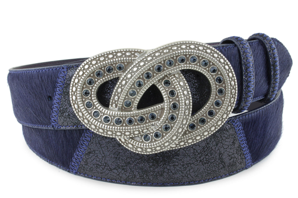 Pony Crack Mix Navy Crystal Reef Buckle