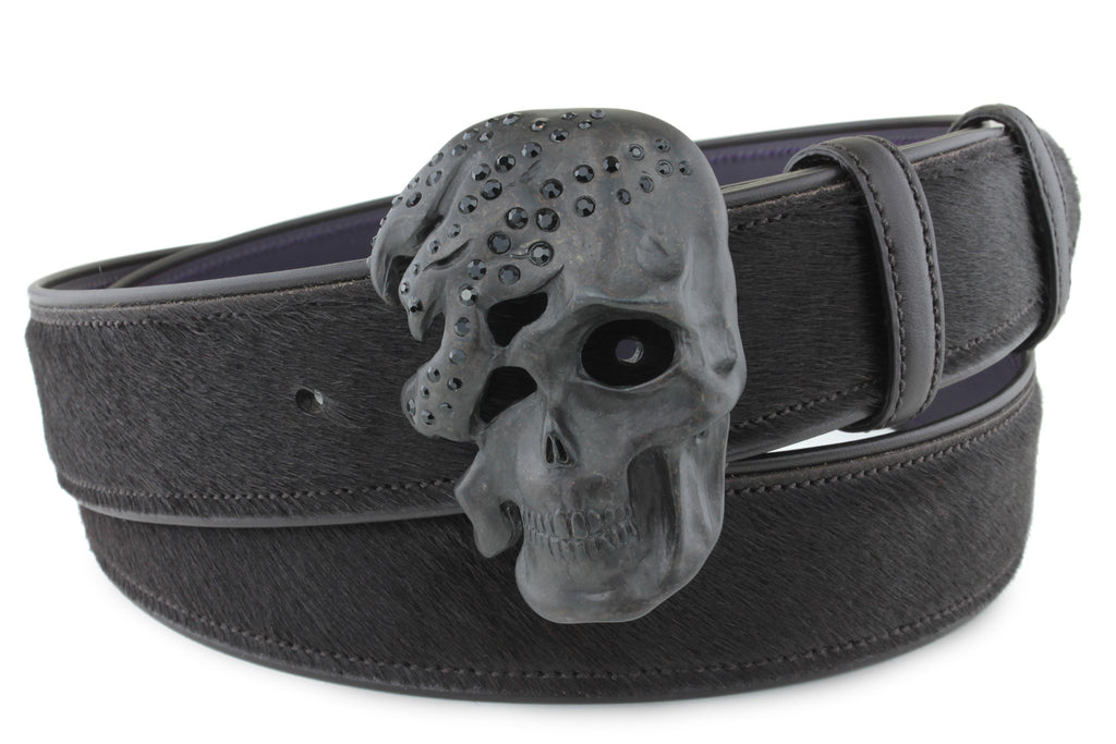 Dark Choc Pony Crystal Skull Belt