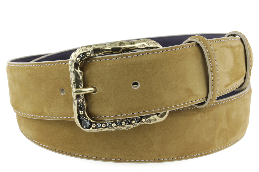Mid Tan Nubuck Crystal Prong Belt