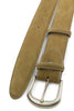 Mid Tan Nubuck Satin Prong Belt