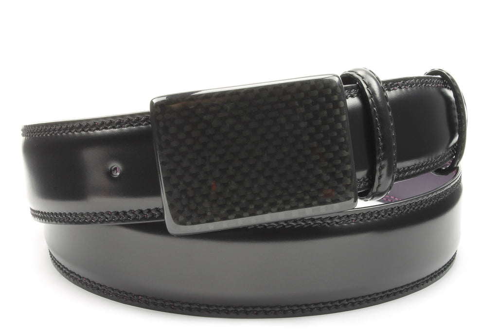 Sleek Black Carbon Fibre Plate Style Belt