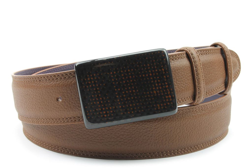 Mottled Tan Carbon Fibre Plate Style Belt