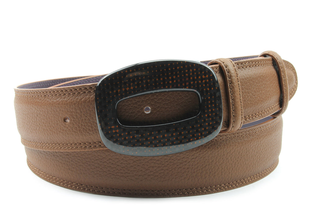 Mottled Tan Carbon Fibre Hollowed Rectangle Belt