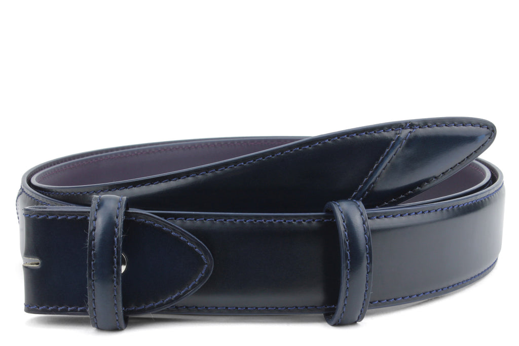 Hancock Hand Burnished Electric Blue Tone Belt Strap