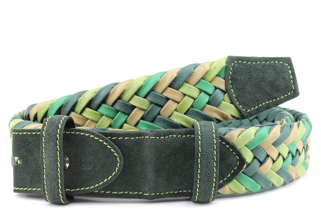 Green Mix Waxed Cotton Handweave Belt Strap