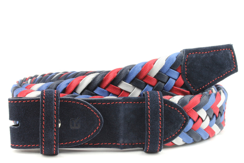 Red/White/Blue Mix Waxed Cotton Handweave Belt Strap