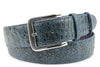 Denim Blue Mock Croc Burnished Effect Belt