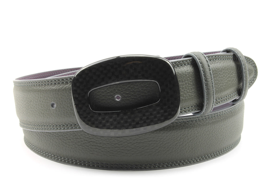 Mottled Grey Carbon Fibre Hollowed Rectangle Belt