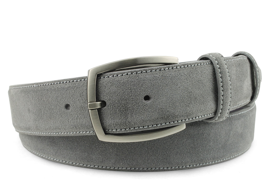 Grey Suede Gunmetal Belt