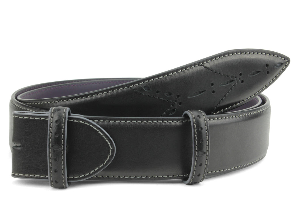 Sinatra Black/Grey mix Perforated Belt Strap