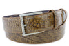 Cognac Burnished Mock Croc Roller Belt