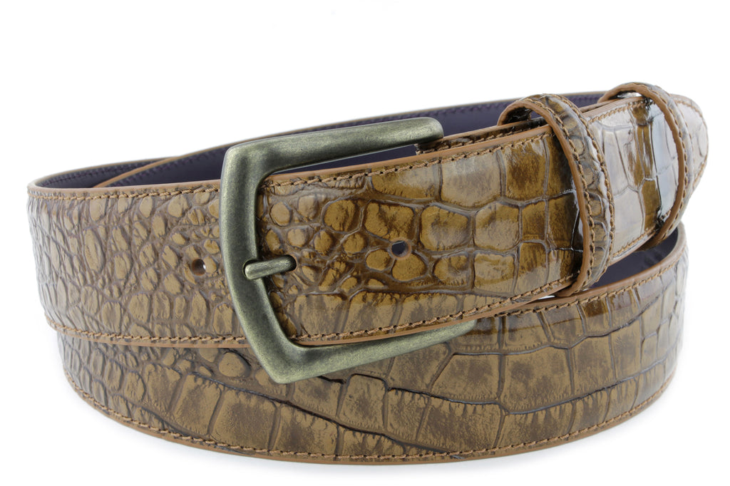Cognac Burnished Mock Croc Belt