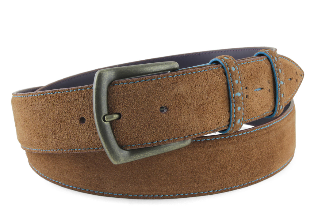 Sinatra Tan & Pale Blue Men's Suede Belt