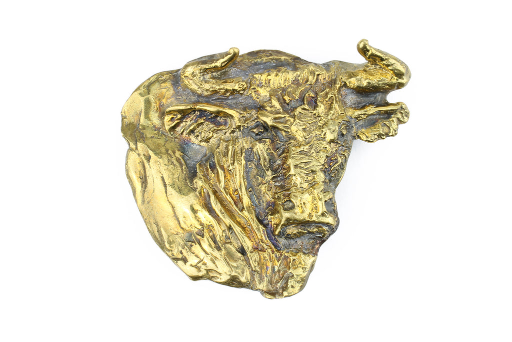 Bronze Sculpted Steer Head Buckle 40mm