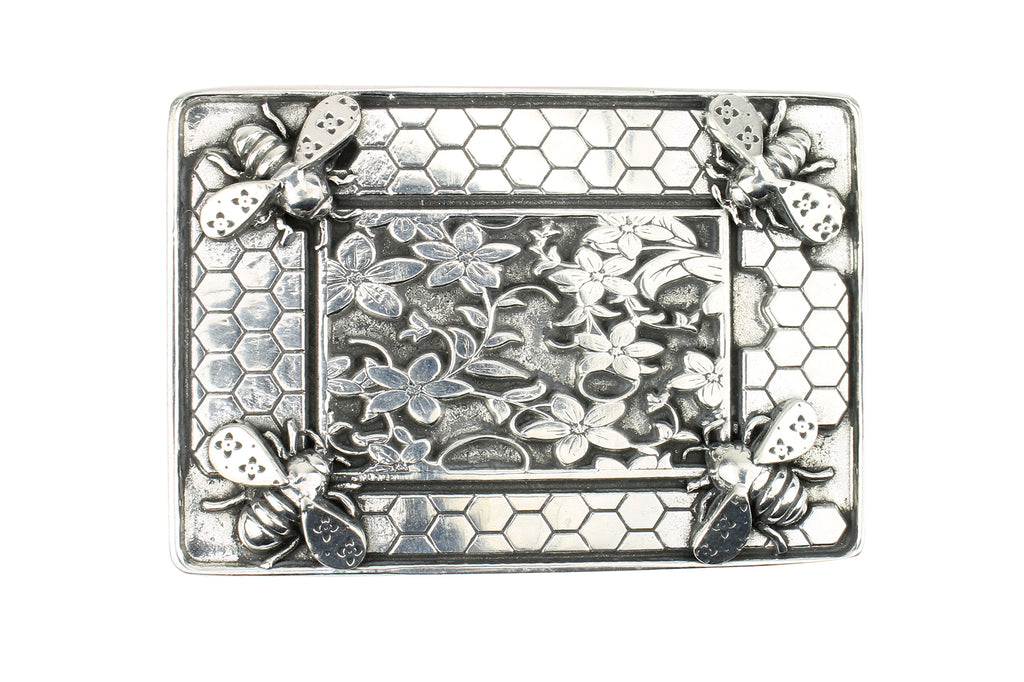 Flowers & Bees' Solid Pewter Buckle 40mm