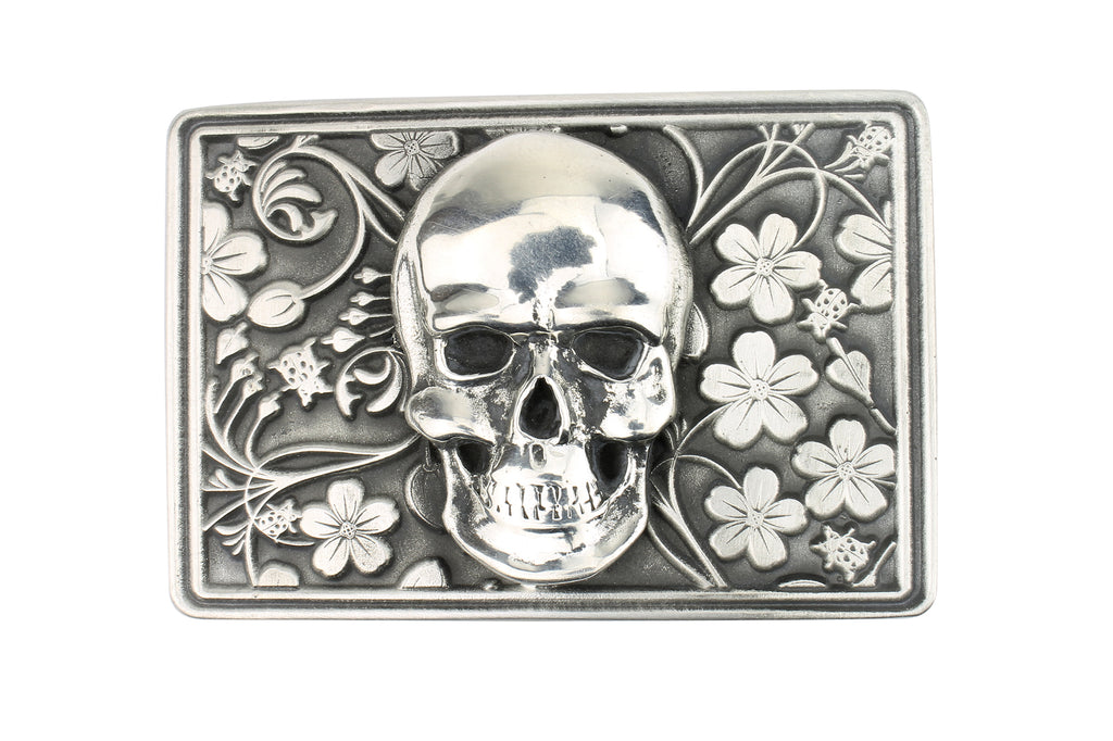 Skull and Flowers' Solid Pewter Buckle 40mm