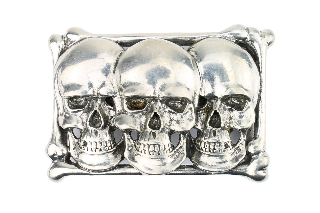 Three Skulls' Solid Pewter Buckle 40mm