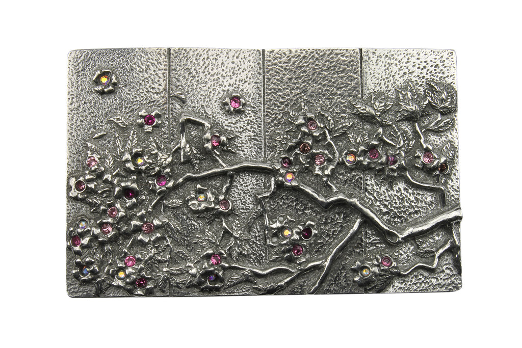 Cherry Blossom Solid Pewter Buckle 40mm