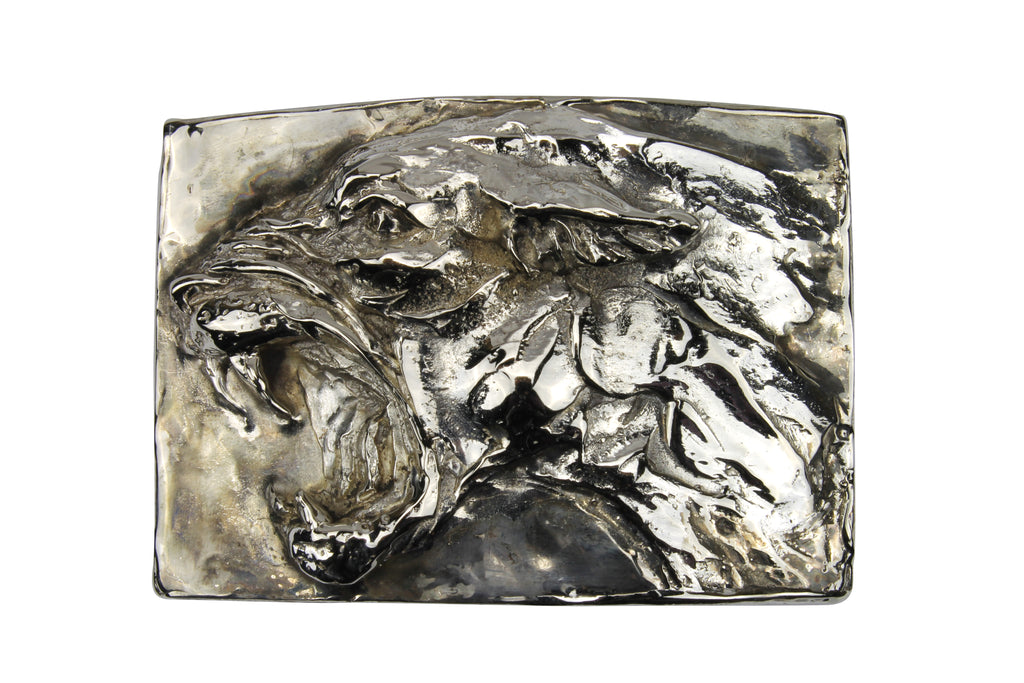 Silver Plated Roaring Tiger Buckle 40mm