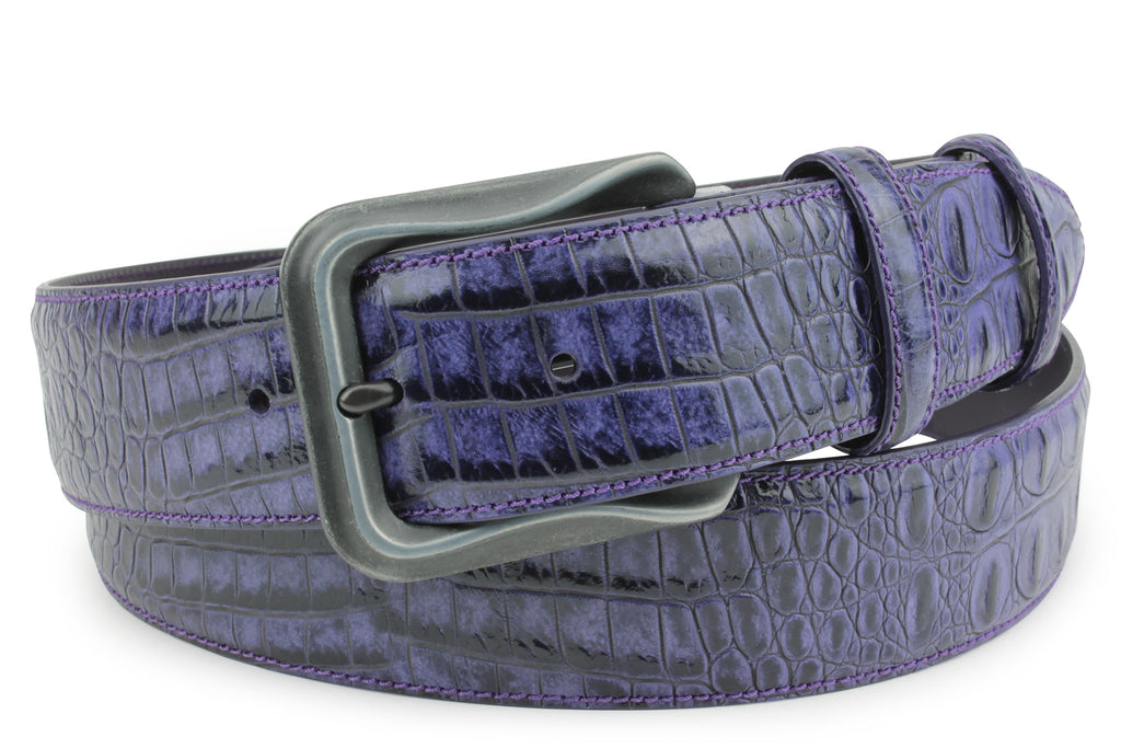 Purple Mock Caiman  Sculpted Gunmetal Belt