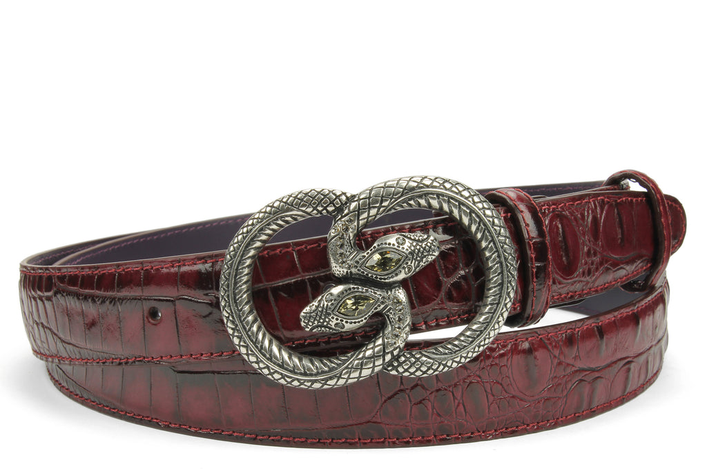 Burgundy Narrow Croc Effect Snake Belt