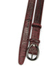Burgundy Narrow Croc Effect Gunmetal Belt