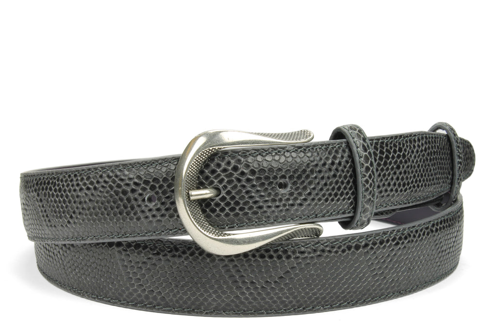 Anthracite Grey Narrow Mock Python Effect Dimple Belt