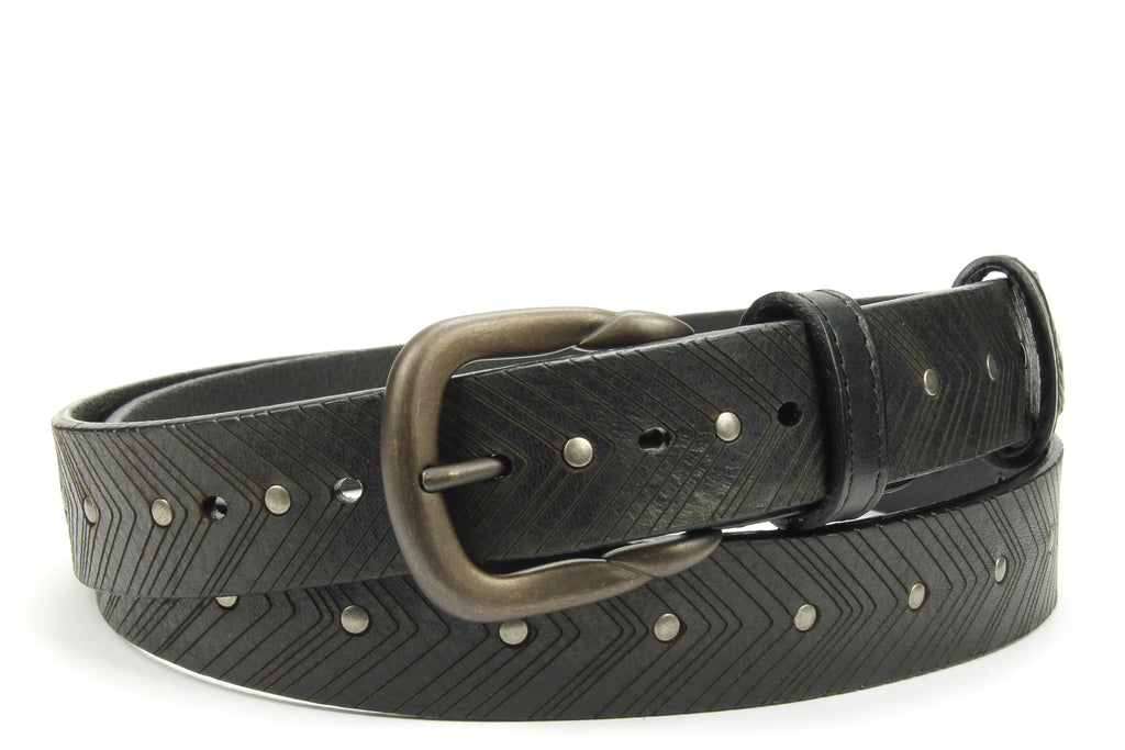 Black Vintage Feel Chevron Studded Narrow Belt
