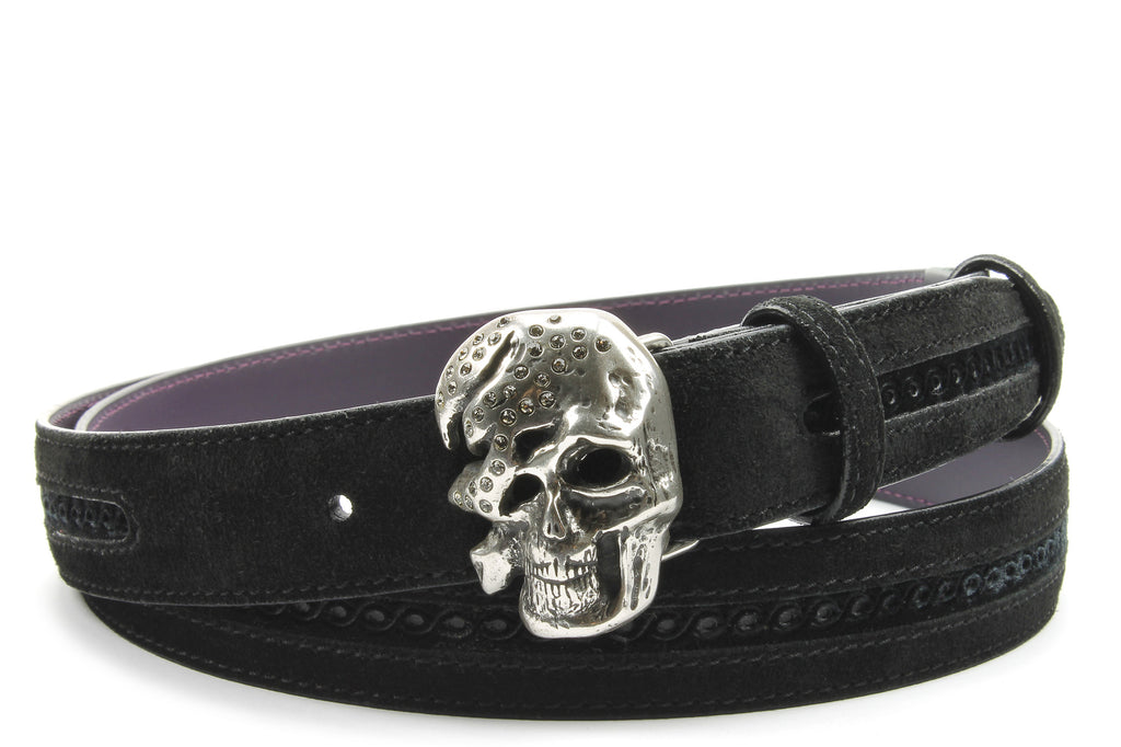 Pfeiffer Black Suede/Velvet Narrow Crystal Skull Belt