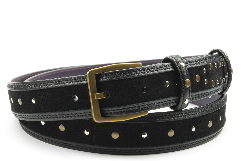 Black Narrow Studded 'Rotten' Belt