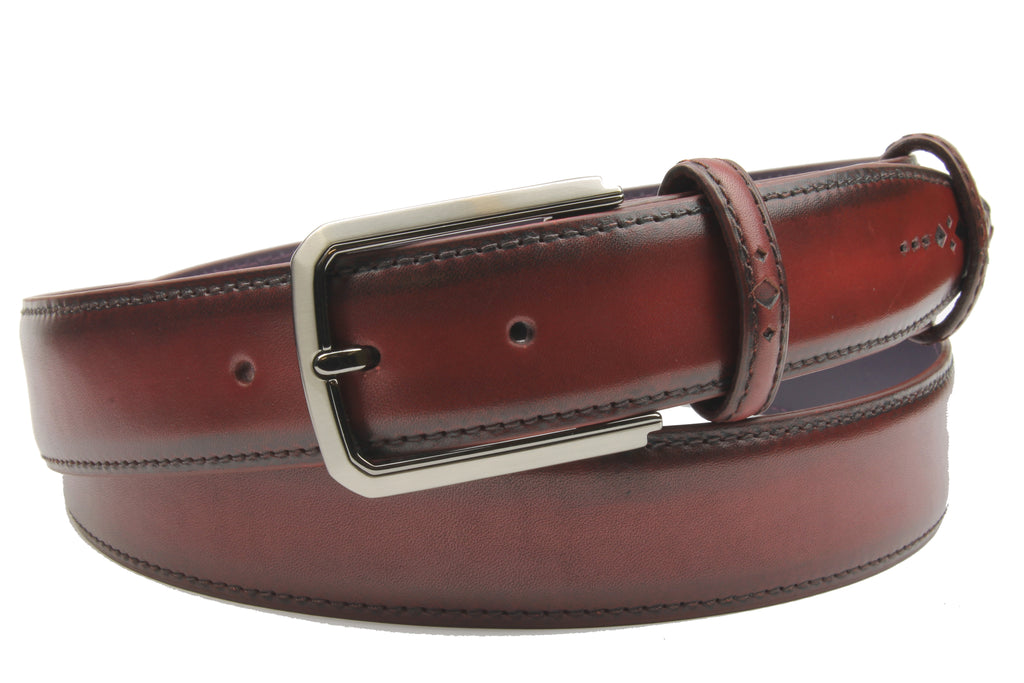 Burgundy Hand Burnished Eastwood Belt