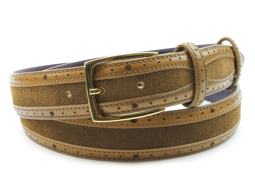 Mclaren Tan Suede/Leather Mix Belt