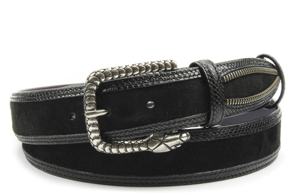 Vicious Black Zip Detail Snake Belt