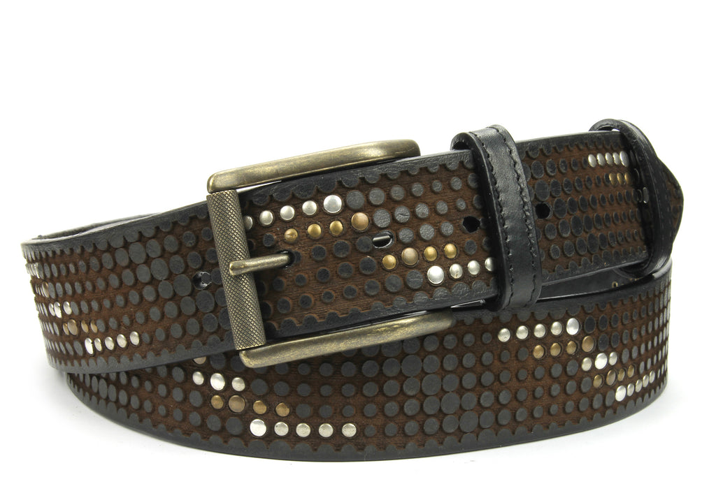 Clyde Black/Brown Vintage Feel Studded Belt