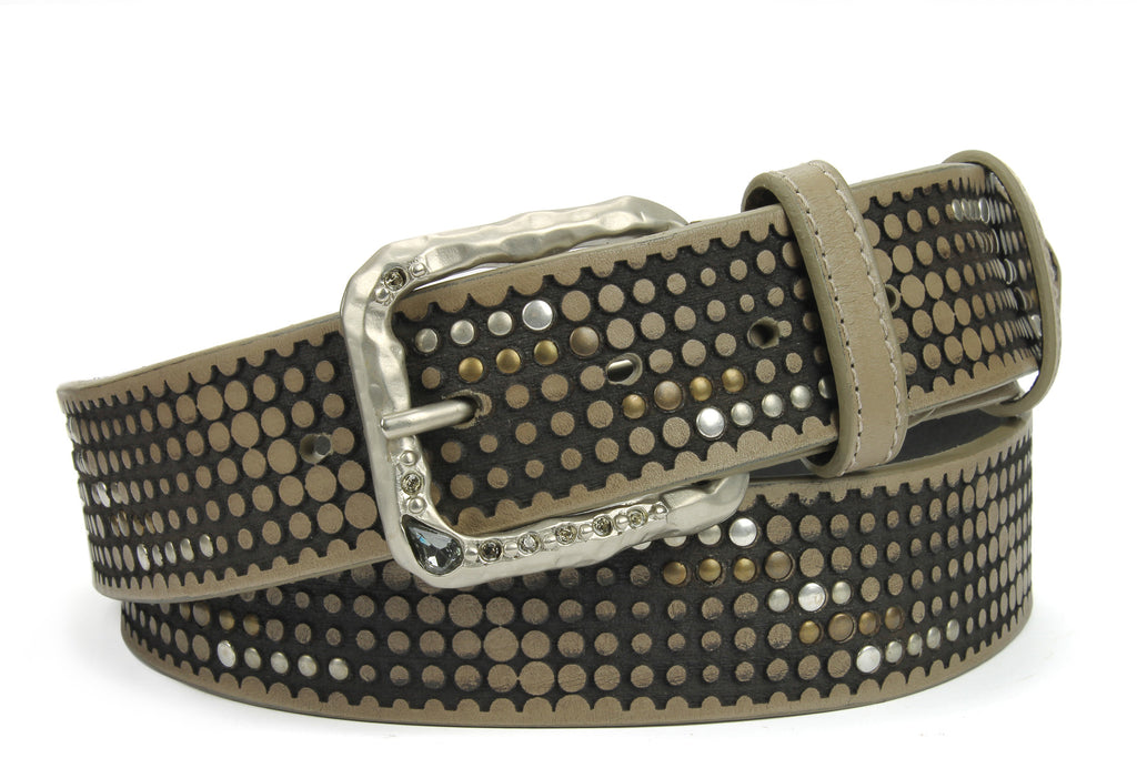Ice Grey Vintage Studded Crystal Prong Belt
