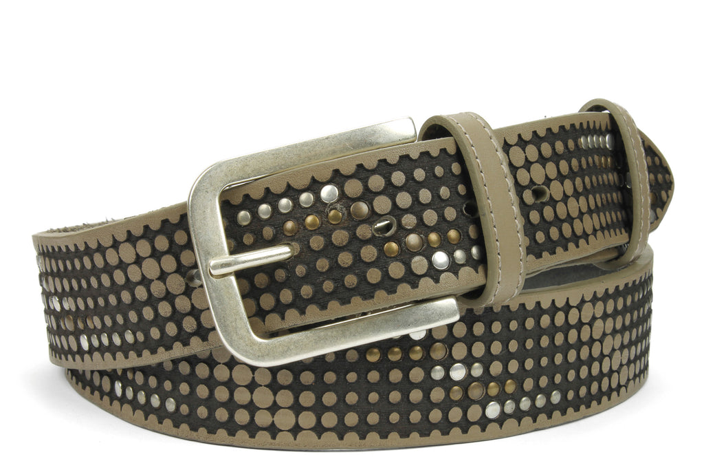 Ice Grey Vintage Studded Belt