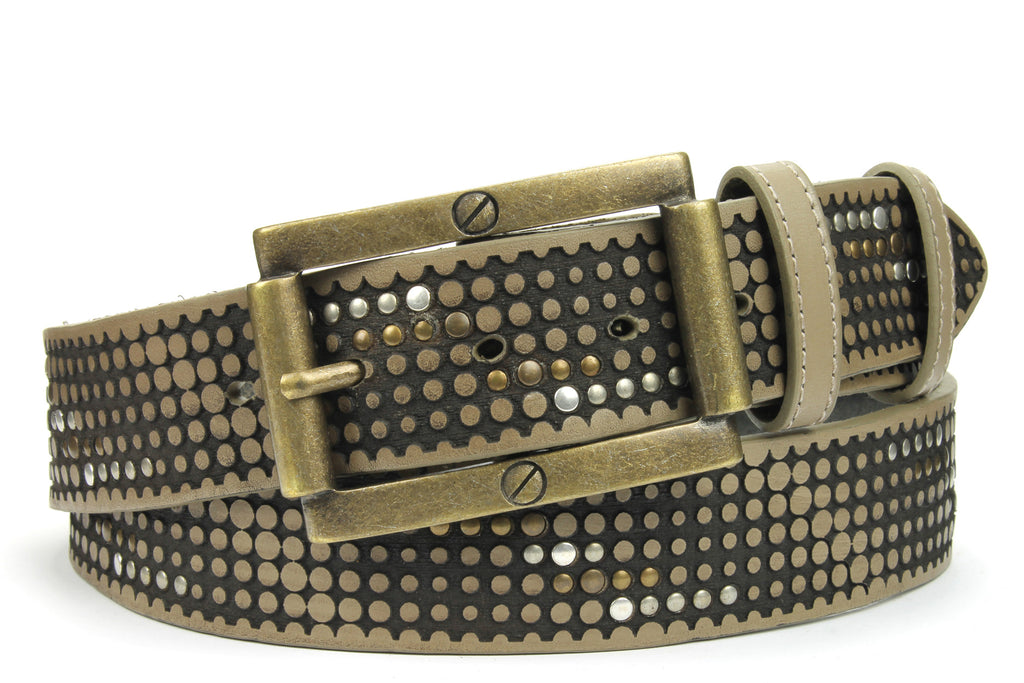 Ice Grey Vintage Studded Screw Belt