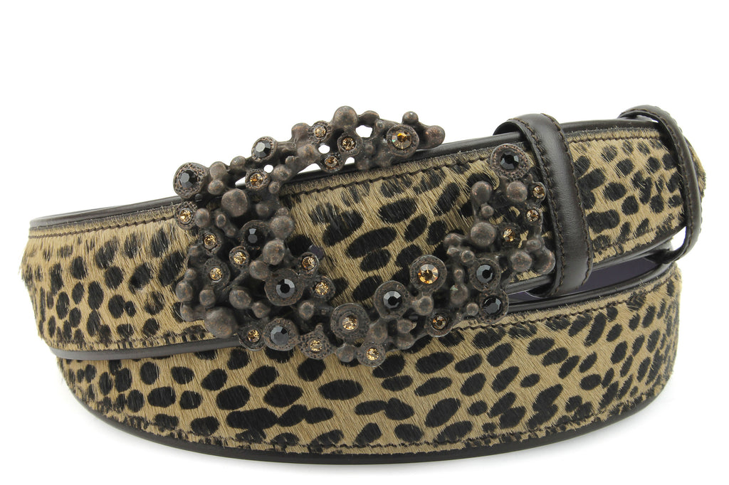 Leopard Print Pony Hair Bubble Swirl Belt