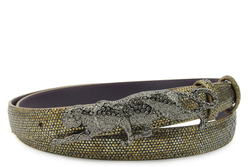 Antique Gold Metallic Dimple Texture Skinny Crystal Leopard Belt