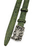 Forest Green Metallic Dimple Texture Skinny Octopus Belt
