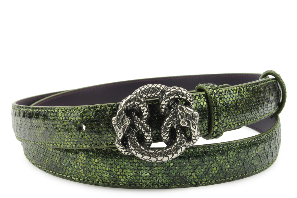 Forest Green Metallic Dimple Texture Skinny Snake Belt