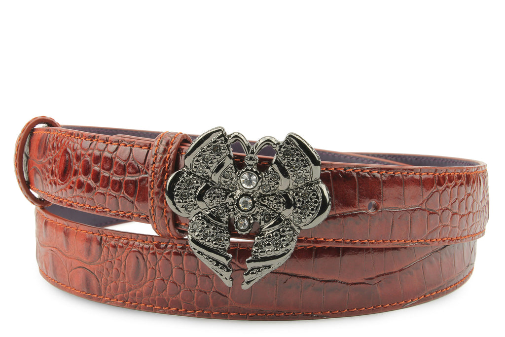 Cinnamon Tone Mock Croc Narrow Butterfly Belt