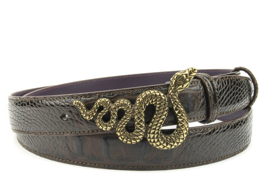 Deep Choc Mock Croc Narrow Crystal Snake Belt