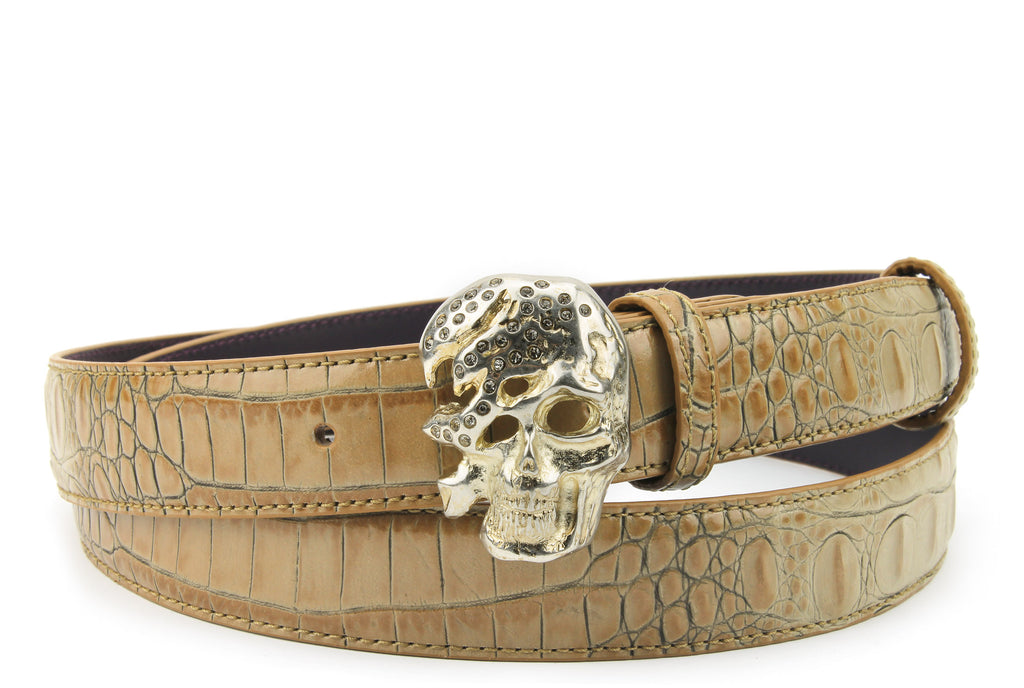 Magic Mushroom Mock Croc Narrow Skull Belt